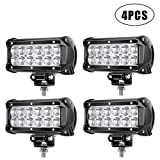 TURBO SII LED Light Bar 4 Pcs 6.5 inch 36w 3600 Lumens LED Spot Light for Off-road Rv Atv SUV Boat 4x4 Jeep Lamp Tractor Marine Off-road Lighting (pack of 4)
