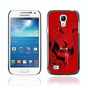 A-type Arte & diseño plástico duro Fundas Cover Cubre Hard Case Cover para Samsung Galaxy S4 MINI / i9190 / i9192 ( Angry Ilustración Red Lion Tiger Cat )