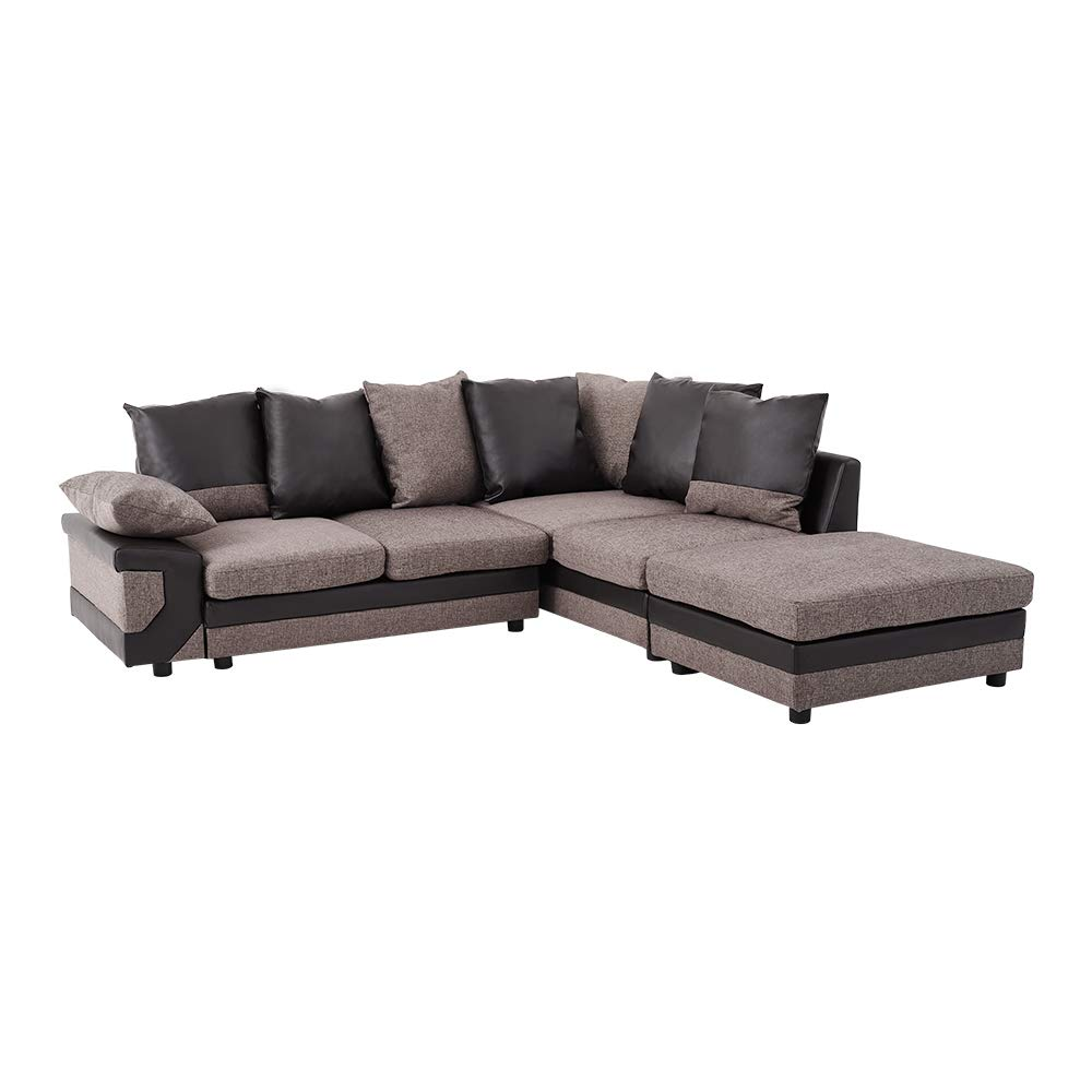 Pananastore Brown Fabric L Shape Corner Sofa With Footstool 5 Seater Upholstered Couch With Back Seat Arm Cushions Removable Cushion Covers Right Or Left Chaise Bedroom Lounge Recliner Settee Buy Online In Guernsey At Guernsey Desertcart Com Productid