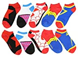 Marvel Comics Female Superhero Costume No-Show Socks 5 Pair