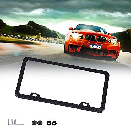 ECCPP License Plate Frame Universal License Plate Covers Protect Plates with Screws for US Vehicles (1Pcs 2 Holes Black)