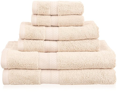 Superior Rayon from Bamboo and Cotton Bathroom Towels, Velvety Soft and Super Absorbent, Hotel & Spa Quality 6 Piece Towel Set with 2 Bath Towels, 2 Hand Towels, and 2 Washcloths - Ivory Bamboo Solid Towel Set