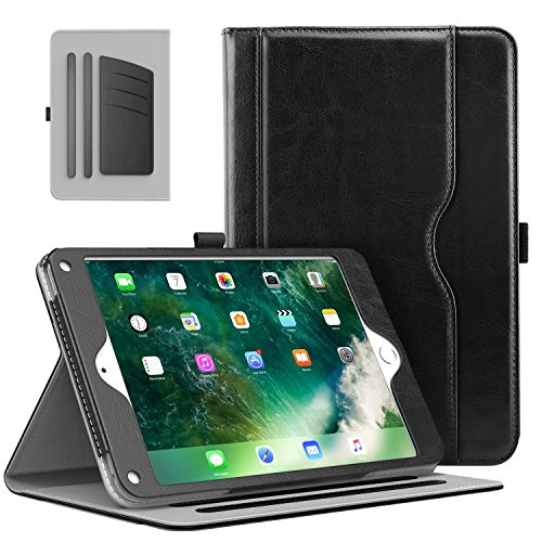 MoKo Case for Apple iPad 9.7 Inch 2018/2017(iPad5/iPad6)/iPad Air/iPad Air 2 Tablet - Slim Folding Stand Folio Cover Case with Document Card Slots, Multiple Viewing Angles, Black