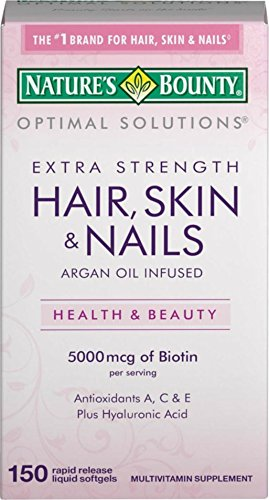 Nature's Bounty Optimal Solutions Extra Srength Hair Skin & Nails 5000 mcg of Biotin, Softgels 150 ea (Pack of 8) by Nature's Bounty