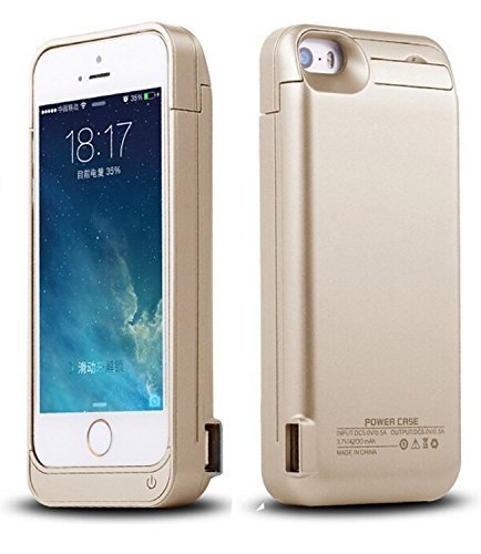 iPhone 5/5C/5S/SE Battery Case, SinoPro Portable Slim Extended Battery Case Mobile Protective Charging Case with 4200mAh Capacity Kick Stand LED Indicator for iPhone 5/5C/5S/SE (Gold)