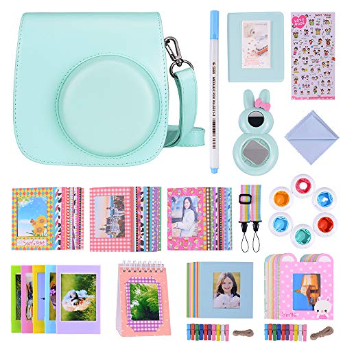 Bsuuy 16 in 1 Instax Mini 9 Camera Accessories Set for Fujifilm Instax Mini 9/ Mini 8/ Mini 8+ Camera, Includes Mini 9 Case,Albums,Six Color Filters,Rainbow Shoulder Strap ETC (Ice Blue)