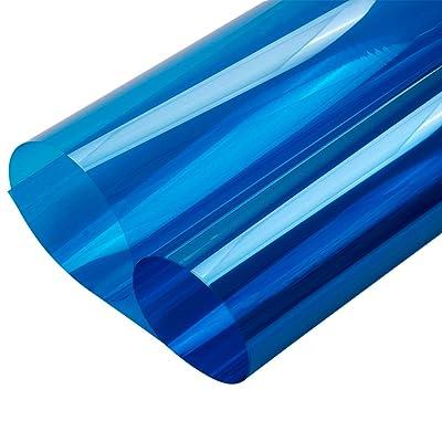"HOHOFILM 35.4""x78.7"" Transparent Colorful Window Film Glass Decoration Stickers Glass Door Tint Self-Adhesive Sun Blocking Glass Film(Blue): Home & Kitchen"