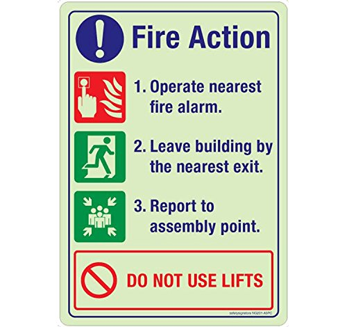 Safety Sign Store NG201-A5AL-01 Fire Action Do Not Use Lifts Material ACP 1 Mm Pack Of 1 148 L X 210 W Acp Lift