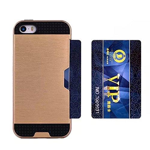 iPhone SE 5SE 5 5S Coque, Moonmini® Hybrid Cover Absorption Case Combo choc avec porte-cartes pour Apple iPhone SE 5SE 5 5S, d'or