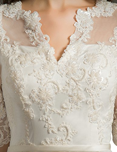 Sleeves Damen Spitzen Sexy with White Half White Kleider Split Bridal Fanciest Brautkleider w6qfZn0wxd