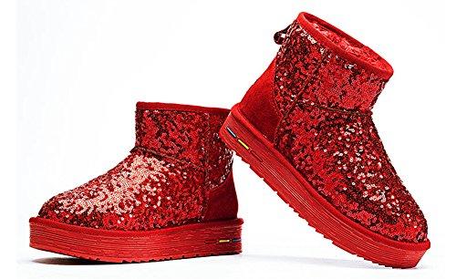 Aisun Sequins Warm Fashion Womens Red Flat Snow Boots Ankle qqwSa76RC