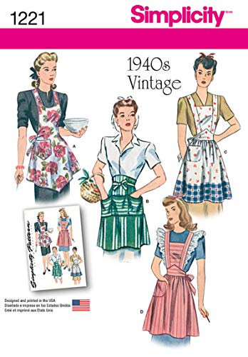 (Simplicity 1221 1940's Vintage Fashion Women's Apron Sewing Pattern, Sizes S-L)