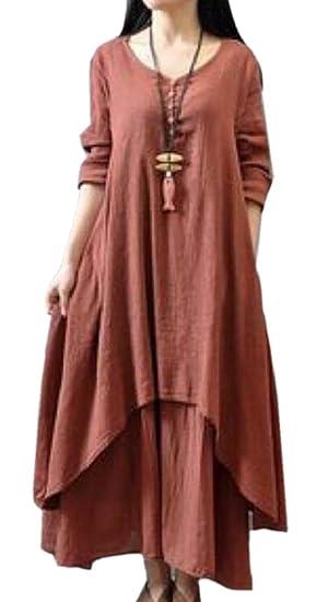 Women Spring Summer Fake Two Piece Linen Dress Plus Size Dress at ...