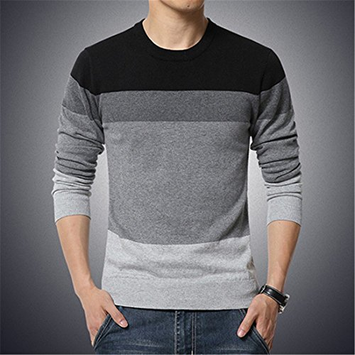 2017 Autumn Fashion Casual Sweater O-Neck Striped Slim Fit Knitting Mens Sweaters And Pullovers Men Pullover Men Casual Sweater M-5XL Black