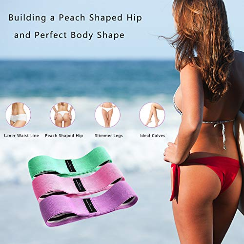 Landcorssers Booty 3 Resistance Bands for Legs and Butt Set, Resistance Hip Booty Bands, Elastic Bands for Exercise, Pilates Bands, Thigh Glute Bands, Fabric Resistance Band, Strength Squat Band