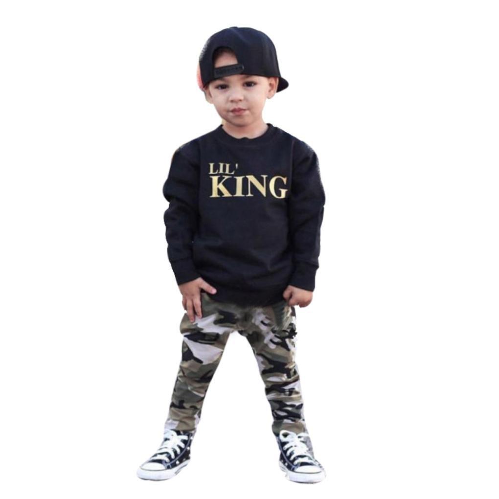 Amlaiworld Conjunto de Ropa de bebé Niños Chicos Tops Camiseta de Letra de bebé + Pantalones de Camuflaje Trajes 12 Mes - 7 Años Amlaiworld123