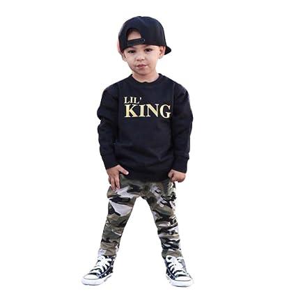 Amlaiworld Conjunto de Ropa de bebé Niños Chicos Tops Camiseta de Letra de  bebé + Pantalones 7e724f5e013