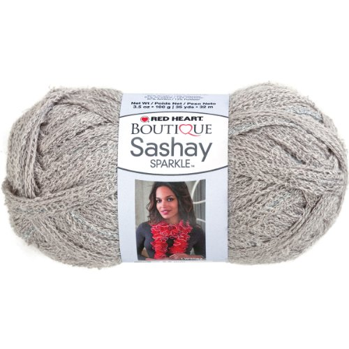 Red Heart Boutique Sashay Sparkle Yarn Platinum Silver Scarf Yarn