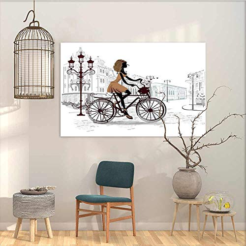 Oncegod Modern Decorative Painting Sticker Teen Room Decor Young Girl in Paris Streets with Bike French Display Oil Canvas Painting Wall Art Chestnut and Light Brown Pearl W27 xL19