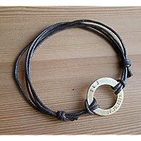 Personalized anniversary customized initials mens bracelet, leather adjustable boyfriend girlfriend bracelet for men