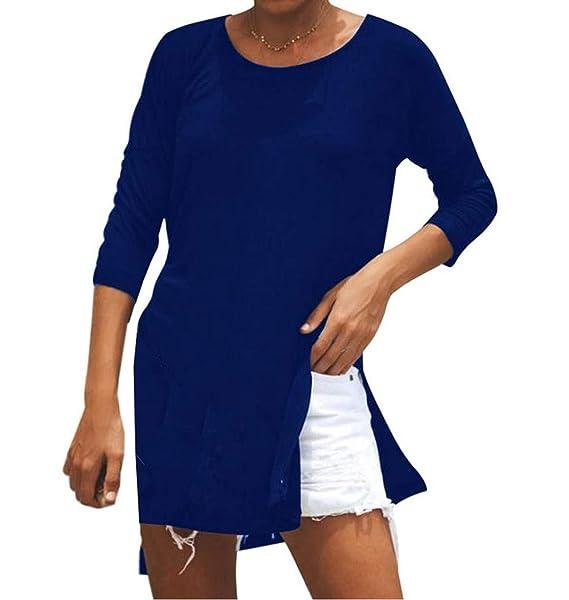 JackenLOVE Primavera y Otoño Mujer Largo Tops con Hendidura Moda Colores Lisos T-Shirt Blusa