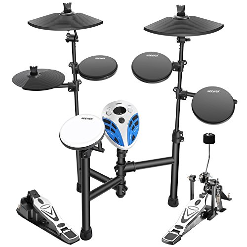 Neewer Beginner Electronic Drum Kit Includes: (1) Module + (1)Snare + (3)Tom + (1)Bass + (1)Triangle Hihat + (1)Triangle Ride + (1)Crash + (1)Hi-hat Pedal + (1)Bass Stand + (12)Cable Tie by Neewer