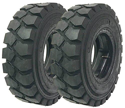 Set of 2 New ZEEMAX HD 6.50-10 /10TT Forklift Tires w/Tube & Flap & Rim Guard