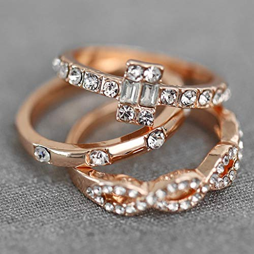 Diamond Studded Ring cubic zirconia rings Geometric Square Zircon Rings 3PC Fashion Trend Jewelry by uaswguDFS (Image #1)
