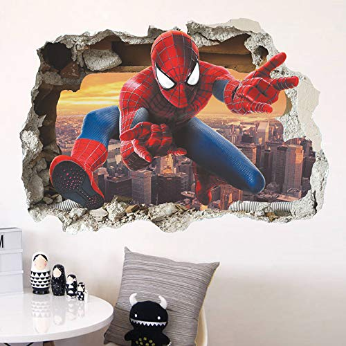 Cabinet Mirror Beaded Framed - JEWH 3D Hero Spiderman Wall Stickers for Nursery Kids Room Decorations Cartoon Spiderman PVC Broken Wall Decal Poster