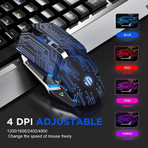 INPHIC Ratón Gaming, Silencioso Click USB Optical Wired PC Computadora portátil Ratones para Juegos 4800DPI Ratones ergonómicos con 6 Botones programables, LED de respiración RGB