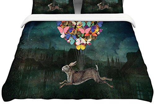 KESS InHouse SC2208ACD02 Suzanne Carter ''Cross Country'' Blue Multicolor Queen Cotton Duvet Cover, 88 by 88'',, by Kess InHouse
