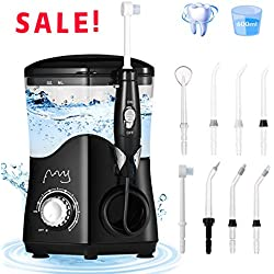 FFY Water Flosser for Teeth, 600ml Water Pick Teeth Cleaner, Electric Water Flosser, Oral Irrigator Countertop with 8 Jet Tips and 10 Adjustable Pressure for Whole Family