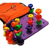 Peg Board Set - Montessori Occupational Therapy Fine Motor Toy for Toddlers and Preschoolers with 30 Pegs in a Board for Color Recognition Sorting & Counting by Skoolzy - Free 20+ Activity Pegboard Download