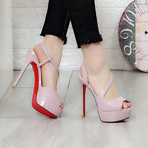 KHSKX-13Cm Super Heel Sandals Fine Heel Catwalk Fish Mouth Waterproof Table High Sexy Women'S Shoes 35 Purple Pink z5cJk