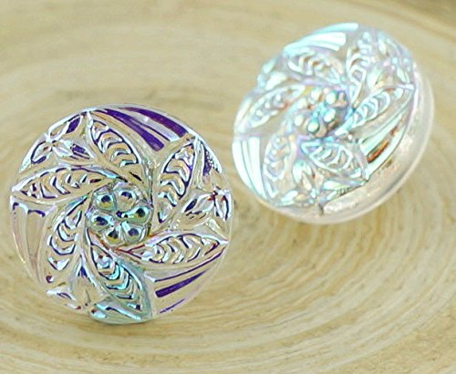 1pc Crystal AB Small Flower Handmade Czech Glass Buttons Size 6, (Czech Glass Flower Buttons)
