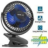 10000mAh Rechargeable Battery-Operated Clip-On Fan, Portable, Mini Desk Personal Fan, Stroller Fan, 40 Hours Long-Lasting, Ultra Quiet, USB Fan for Outdoor Office Travel