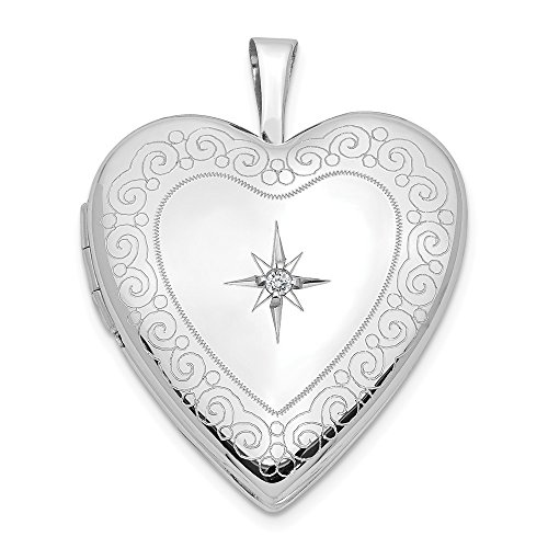 14k 20mm White Gold Side Swirls Diamond Heart Photo Pendant Charm Locket Chain Necklace That Holds Pictures Fine Jewelry Gifts For Women For Her