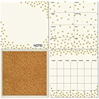 WallPops! Dry-Erase Calendar/Weekly Planner/Notes Board/Cork Board Set in White/Gold Confetti