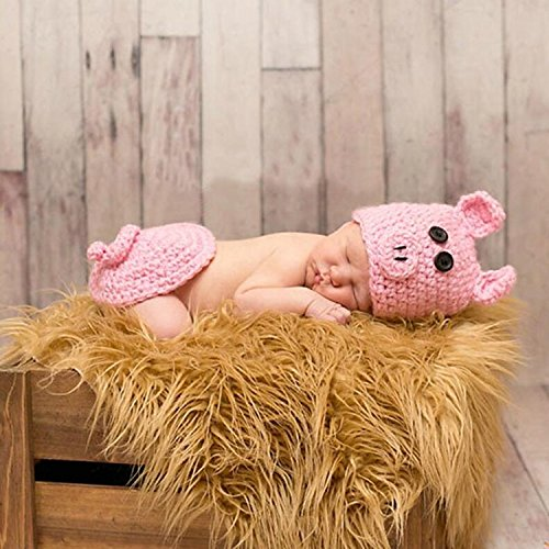 AiXiAng Baby Newborn Photography Prop Baby Handmade Crochet Knitted Cute Pink Pig Costume Hat and Cover Set Baby Photo Props for Girls