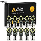 Alla Lighting CANBUS 194 LED Bulb Super Bright 168 175 2825 W5W Bulb 6000K White 3014 SMD 12V T10 LED Replacement Bulbs Car License Plate Interior Map Dome Trunk Door Courtesy Lights Bulbs (Set of 10)