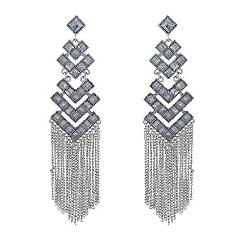 Lux Accessories SilverTone Multi Tier Rhinestone Chain Fringe Statement Earrings