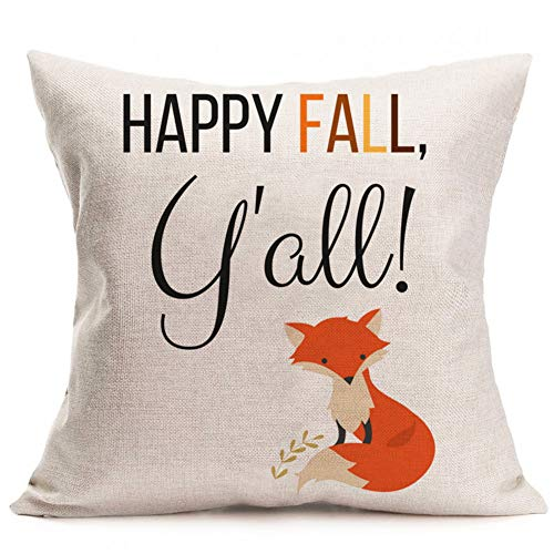 Halloween 07 Quotes (GATELEE Hello Fall Pillow Covers Autumn Harvest Pumpkin Spice Home Decor Cotton Linen Throw Pillow Case Cushion Cover Square 18''x18'' Pillowslip Quote (07 Happy Fall)