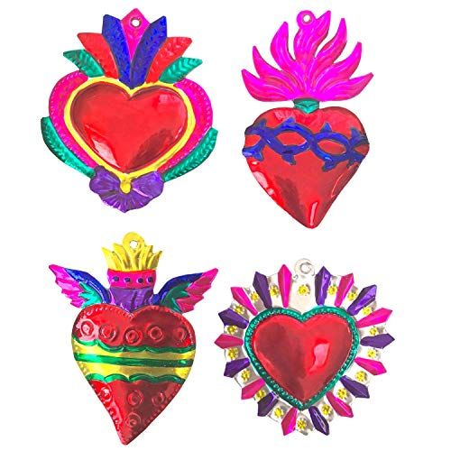 - Milagros Charms - Tin Painted Sacred Heart Ornaments - Mexican Art (Set of 4) - Large - Multicolor Grandes