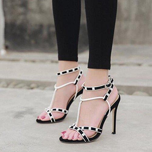 T Sandalias Women's 40 Size Rivet Black Fine Shoes Highxe Alto LqSGUMzVp