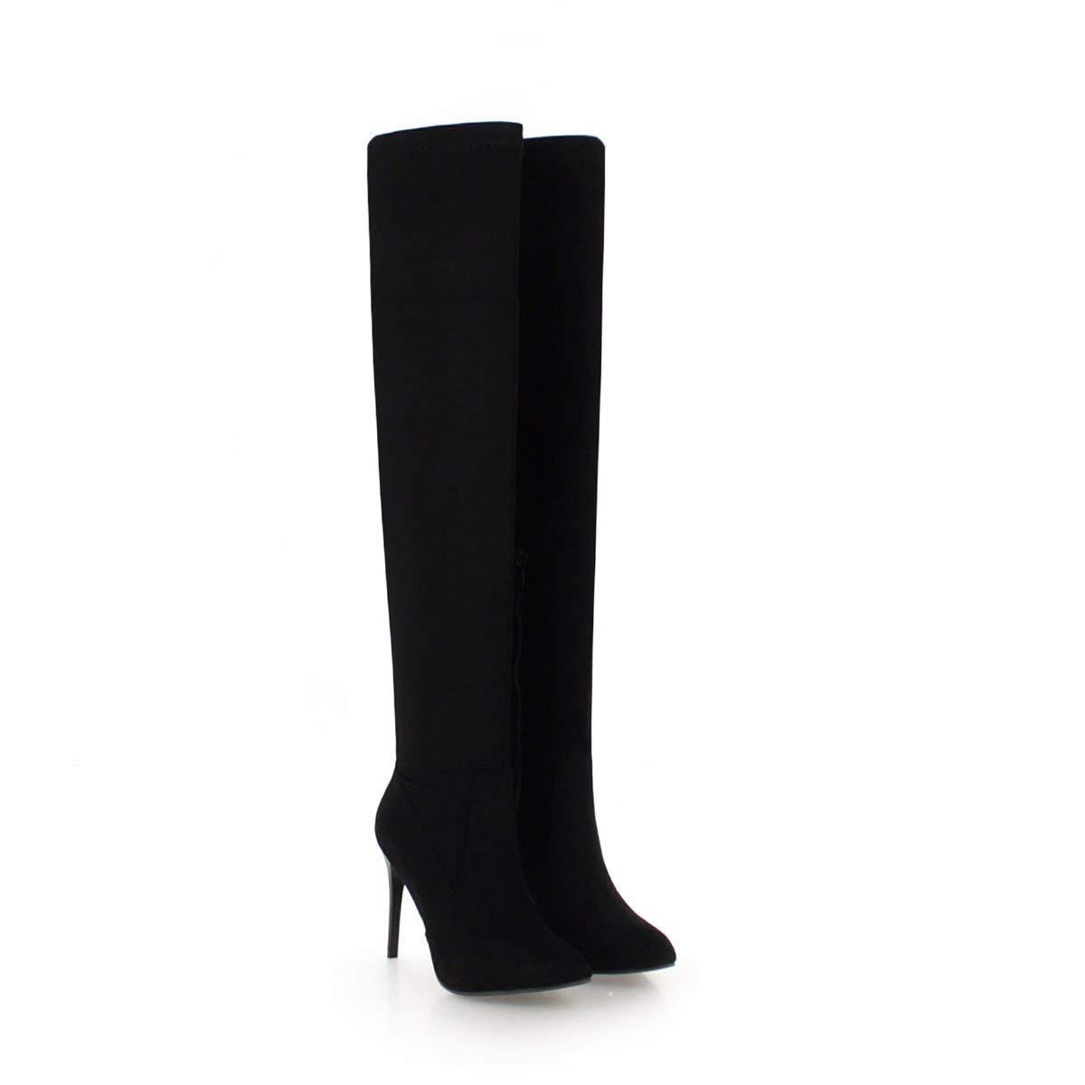 Damen Damen Damen Stiletto Heels Spitz Hohe Overknee Lange Stiefel 953163