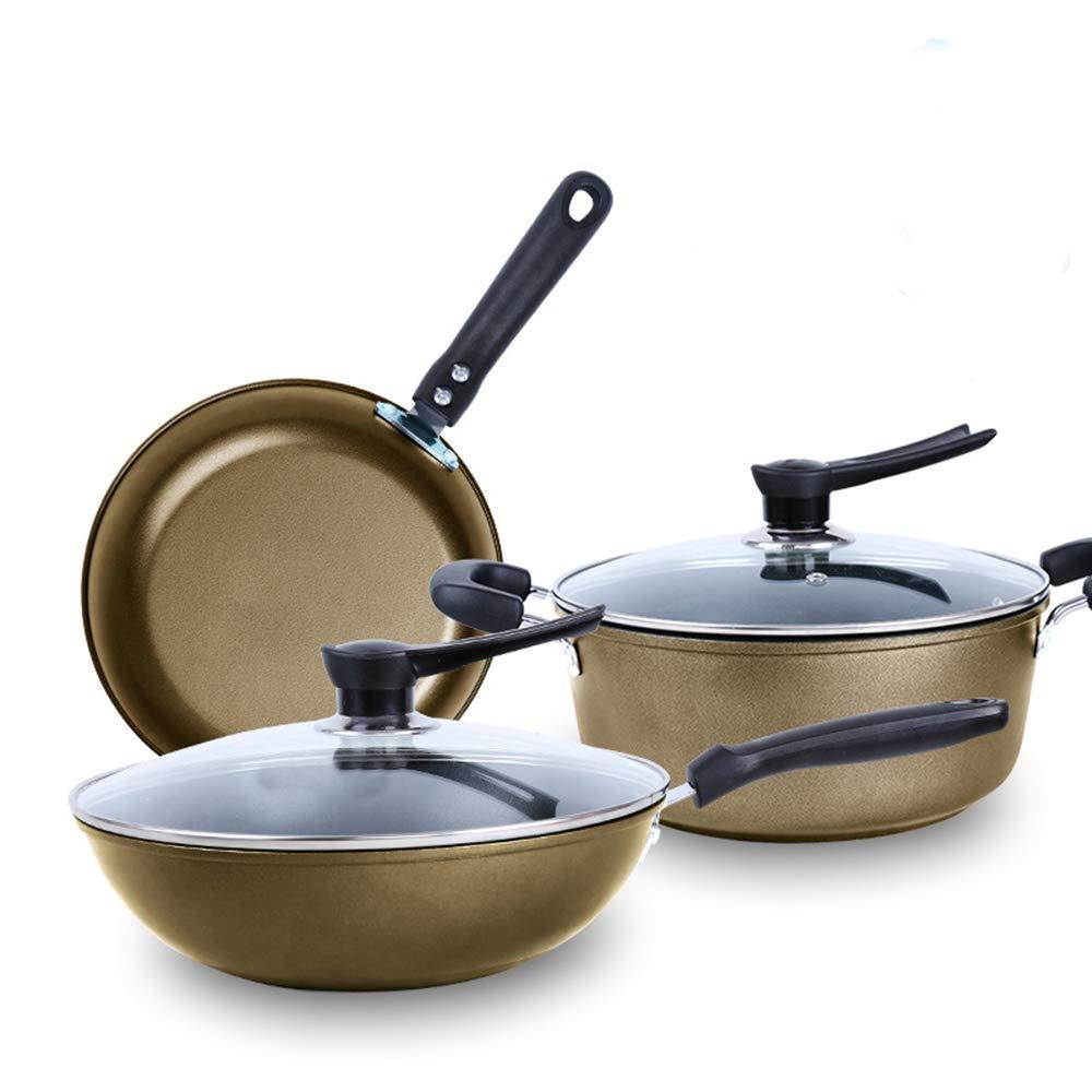 家庭の台所やレストランでの多目的使用のための焦げ付き防止の鍋セット炊飯器(地元の金)   B07RNHXMLN