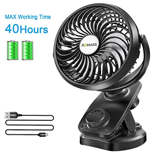 Battery Operated - Portable 40 Hours Desk Fan【2019Upgrade Version】with Rechargeable 4400mAH Battery and USB Cable Auto Oscillating Mini Fan for Outdoor Sports Activities Aomais ()