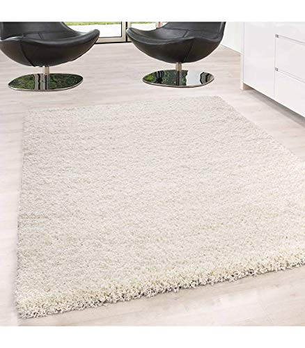 Hochflor Langflor Wohnzimmer Shaggy Teppich Unifarbe Florhöhe 5cm Creme - 200x290 cm