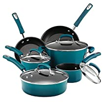 Premium Cookware Set Nonstick Porcelain 10 Piece, Marine Blue, Glass Lid