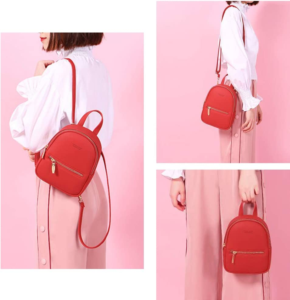 Small Leather Backpack Mini Cute Casual Daypack Fashion Zippered Pockets Crossbody Bags for Women Girl Red